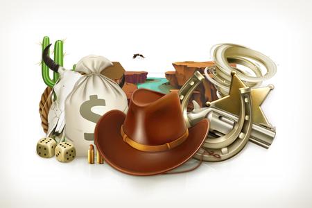 Cowboy Adventure. Game logo. Western retro style. 3d vector emblem