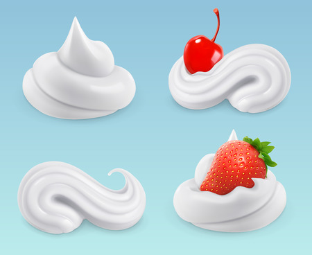 Whipped cream, sweet cream, cherries and strawberries, vector set
