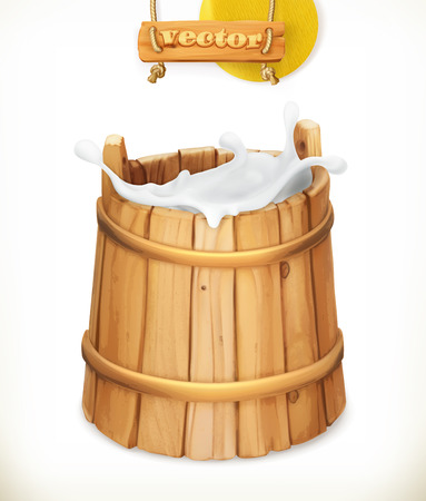 milker: Wooden bucket. Milk. Rustic style. Natural dairy products. 3d vector icon