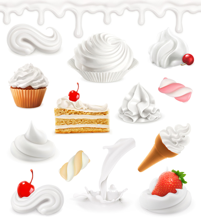 Whipped cream, milk, ice cream, cake, cupcake, candy. Sweet 3d vector icon set