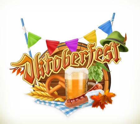 Oktoberfest Oktoberfest, kann der Vektor auch mit allen Bierherstellern verwendet werden. Holzfass, Brezel, Getränk, Hopfen, Getreide, Wurst, Hut