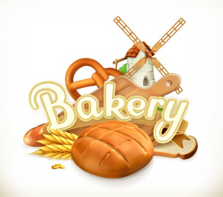 bakery store: Bakery, Bread. 3d vector label