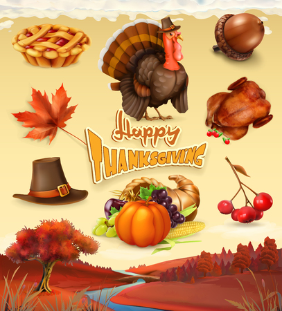 Autumn. Happy Thanksgiving cartoon character and objects. 3d vector icon set Illustration