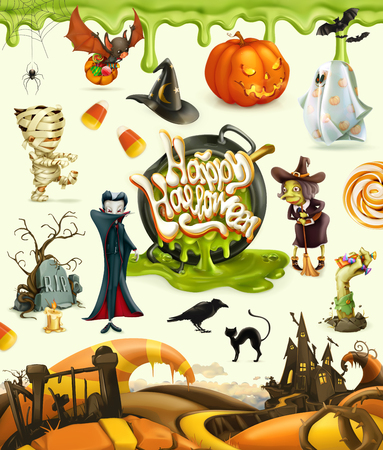 Halloween 3d vector illustrations. Pumpkin, ghost, spider, witch, vampire, zombie, grave, candy corn. Set of cartoon characters and objects, greetings text Happy Halloween for invitation cards and posters Иллюстрация