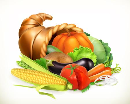 Hoorn des overvloeds. Oogst groenten. Hoorn des overvloeds. 3D-vector icon