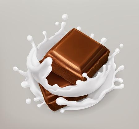 Chocolade en melkplons. Chocolade en yoghurt. Realistische illustratie. 3d vector icoon