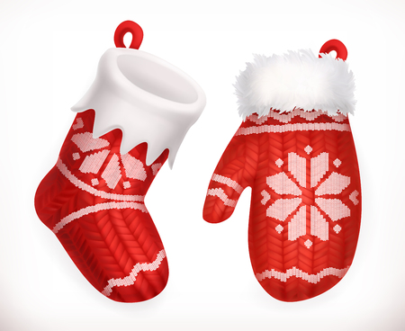mitten: Christmas sock and winter knitted mitten. 3d vector icon Illustration