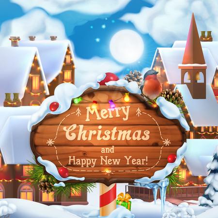 Buon Natale e felice anno nuovo sfondo. Illustrazione vettoriale 3D. Villaggio di Natale Vettoriali