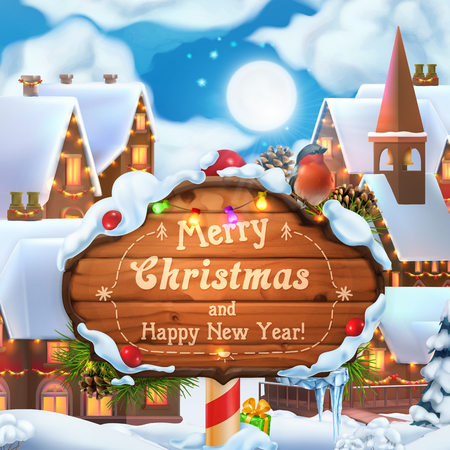 Merry Christmas and Happy New Year background. 3d vector illustration. Christmas village Vektorové ilustrace