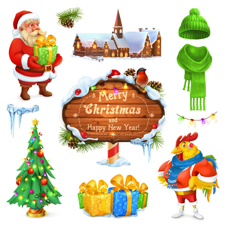 Merry Christmas and Happy New Year. Santa Claus. Christmas tree. Wooden sign. Gift box. Winter knitted hat. 3d vector icon set Illustration