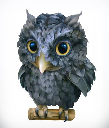 watching: Owl. Night bird. Funny animal. 3d vector icon