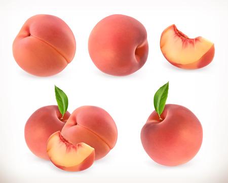복숭아. 달콤한 과일. 3d 벡터 아이콘을 설정합니다. 현실적인 그림 일러스트