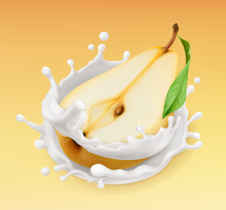 Pear and milk splash. Fruit and yogurt. Realistic illustration. 3d vector icon