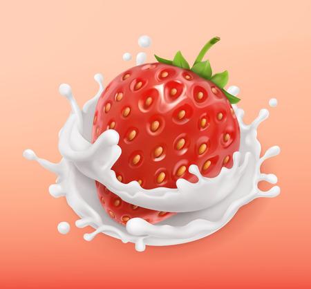 Strawberry and milk splash. Fruit and yogurt. Realistic illustration. 3d vector icon