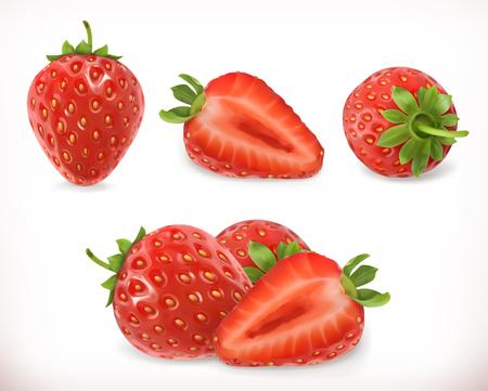 Strawberry. Sweet fruit. 3d vector icons set. Realistic illustration  イラスト・ベクター素材