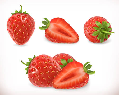 Strawberry. Sweet fruit. 3d vector icons set. Realistic illustration Ilustracja