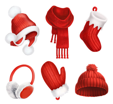 muff: Winter clothes. Knitted cap. Christmas sock. Scarf. Mitten. Earmuffs. 3d vector icon
