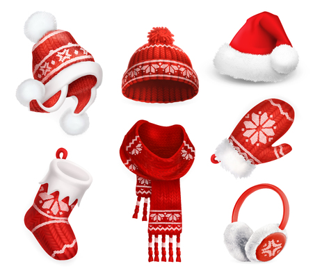 hat cap: Winter clothes. Santa stocking cap. Knitted hat. Christmas sock. Scarf. Mitten. Earmuffs. 3d vector icon