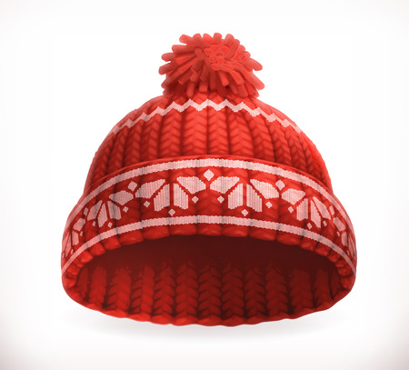 Red winter knitted hat. 3d vector icon