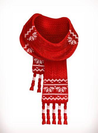 scarf: Winter scarf. 3d vector icon