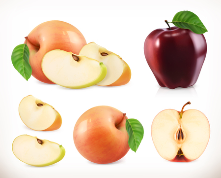 Apple. Whole and pieces. Sweet fruit. 3d vector icons set. Realistic illustration Illustration