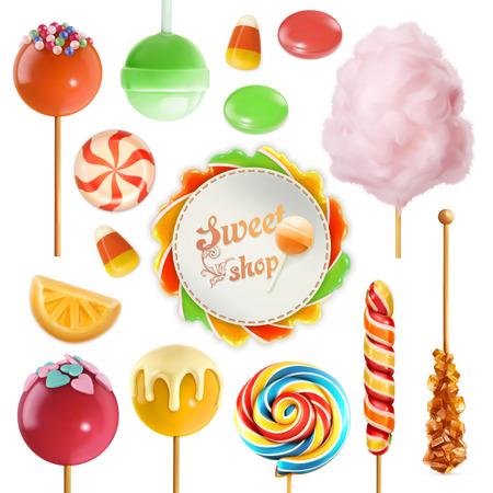 candies: conjunto de caramelo. caramelo del remolino. Algodón de azúcar. piruleta dulce. Icono del vector 3d