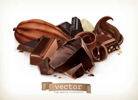 chocolate candy: Chocolate bars, candy, slices, shavings and pieces, vector illustration isolated on white