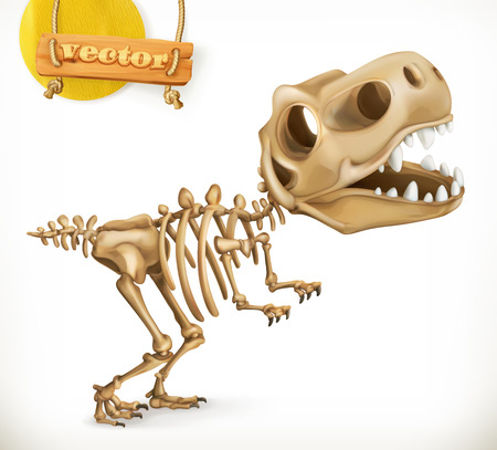 Dinosaur skeleton cartoon character. Funny animals 3d vector icon