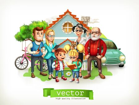 Family. Father, mother, grandmother, grandfather, son, daughter. House. 3d vector Illustration