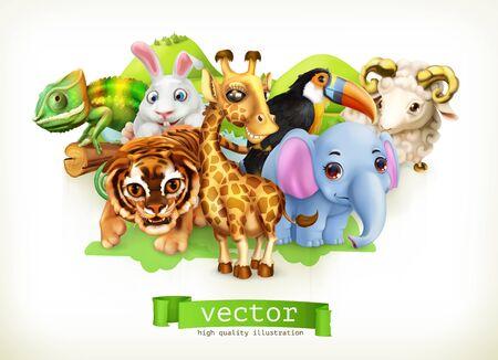 Funny animal group Illustration
