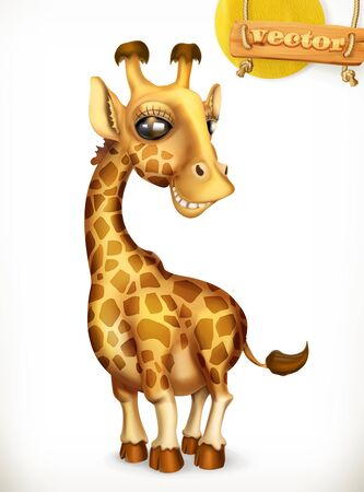 Giraffe cartoon character. Funny animals 3d vector icon