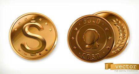 Golden coins. Money 3d vector icons