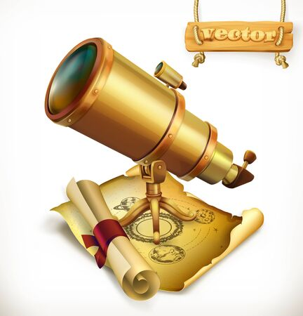 Horoscope and telescope. Astrology 3d vector icon Illustration