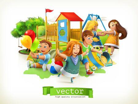 Park, kids playground. Outdoor games. 3d vector illustration Illustration