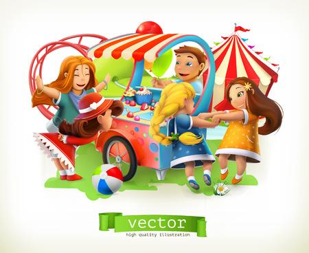 Kids playground. Amusement park. 3d vector illustration