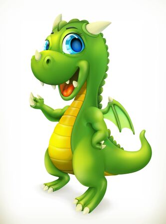 Little Dragon cartoon character. Funny animals 3d vector icon