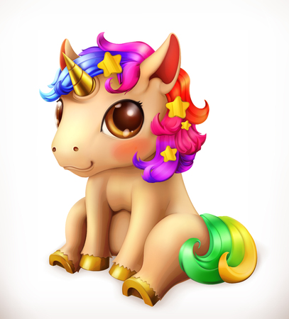 Little Unicorn cartoon character. Funny animals 3d vector icon