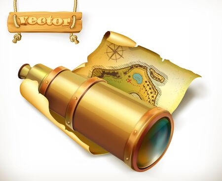 Map and spyglass. Adventure 3d vector icon Illustration