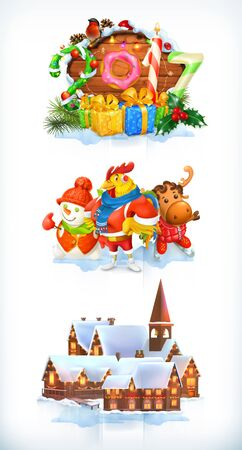 Merry Christmas and Happy New Year 2017. 3d vector icon set