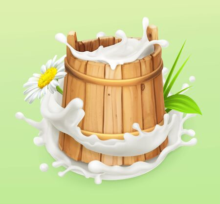Milk. Rustic style. Wooden bucket. Natural dairy products. 3d vector icon