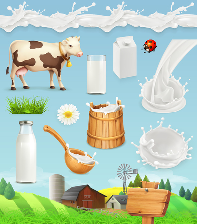 productos naturales: Milk and farm. Bottle, glass, spoon, bucket. Drops seamless pattern. Natural dairy products. 3d vector icon set