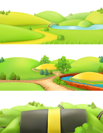 landscape nature: Nature landscape. Park and outdoor. Cartoon game background. 3d vector set Illustration