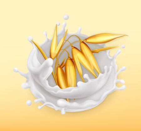 Oat and milk splash. Realistic illustration. 3d vector icon