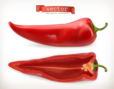 Pepper. Vegetable 3d vector icon Illustration