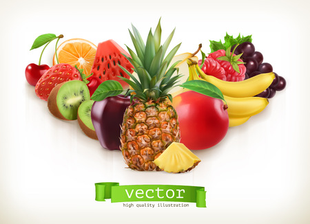 Pineapple and juicy fruits, vector illustration isolated on white Illustration