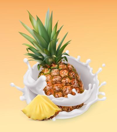 Pineapple and milk splash. Fruit and yogurt. Realistic illustration. 3d vector icon Illustration