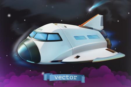 Space shuttle. Vector icon 3d Illustration
