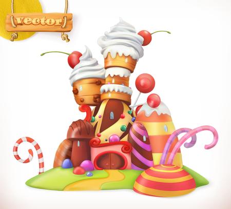 Zoet kasteel. Peperkoekenhuis. Cake, cupcake, snoep. 3d vector icoon