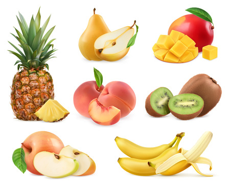 apple slice: Sweet fruit. Banana, pineapple, apple, mango, kiwi fruit, peach, pear. Whole and pieces. Realistic illustration. 3d vector icons set Illustration