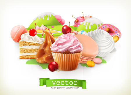Sweet shop. Confectionery and desserts, cake, cupcake, candy, caramel. 3d vector illustration Illustration